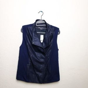 Vince Navy Blue Leather Front Vest Jacket *NEW*